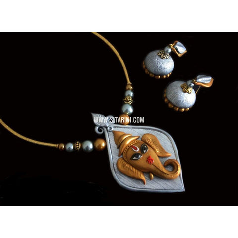 Polymer Clay Jewelry-Necklace and Earrings-Sitarini-SAHPCE145