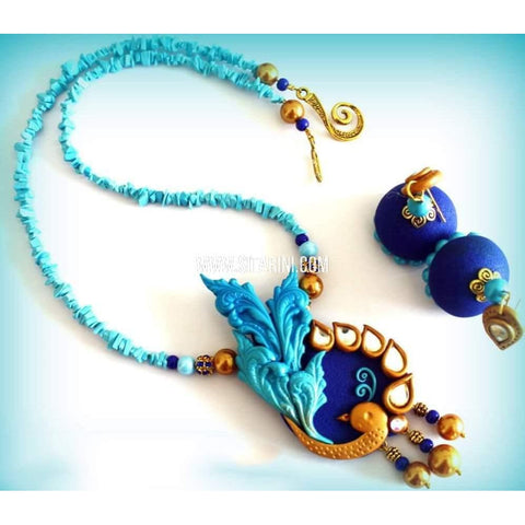 Polymer Clay Jewelry-Necklace and Earrings-Sitarini-SAHPCE146