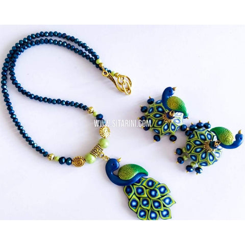 Polymer Clay Jewelry-Necklace and Earrings-Sitarini-SAHPCE148