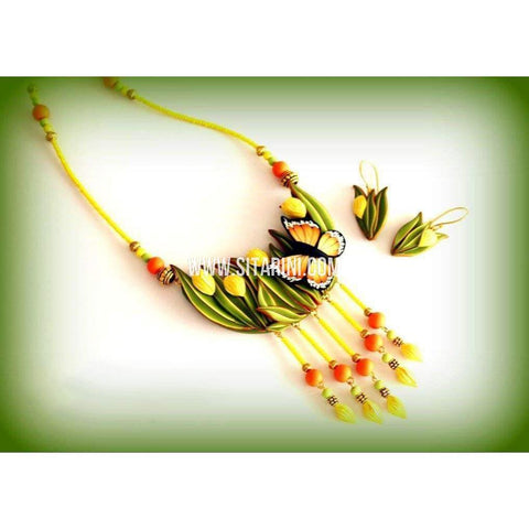 Polymer Clay Jewelry-Necklace and Earrings-Yellow and Green-Sitarini-SAHPCE154