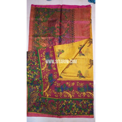 Printed Uppada Tissue Saree-Banana Yellow and Magenta-Sitarini-UMKHUTPS106