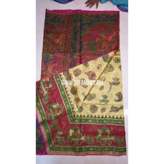 Printed Uppada Tissue Saree-Cream and Magenta-Sitarini-UMKHUTPS114