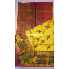 Printed Uppada Tissue Saree-Mango Yellow and Magenta-Sitarini-UMKHUTPS113