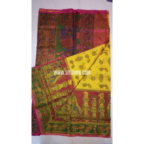 Printed Uppada Tissue Saree-Mango Yellow and Magenta-Sitarini-UMKHUTPS116
