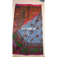 Printed Uppada Tissue Saree-Sky Blue and Magenta-Sitarini-UMKHUTPS121