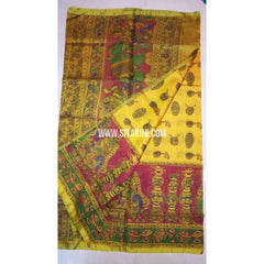 Printed Uppada Tissue Saree-Yellow and Magenta-Sitarini-UMKHUTPS101