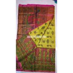 Printed Uppada Tissue Saree-Yellow and Magenta-Sitarini-UMKHUTPS103