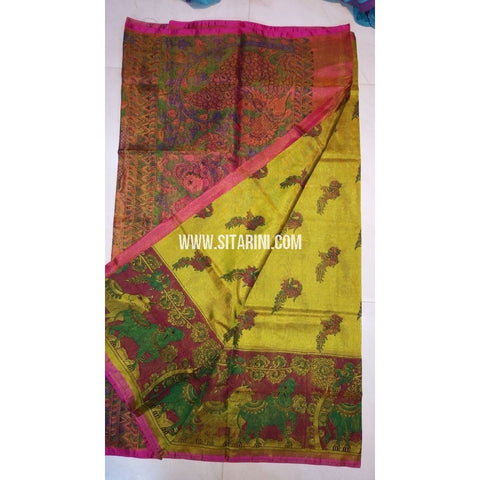 Printed Uppada Tissue Saree-Yellow and Magenta-Sitarini-UMKHUTPS104