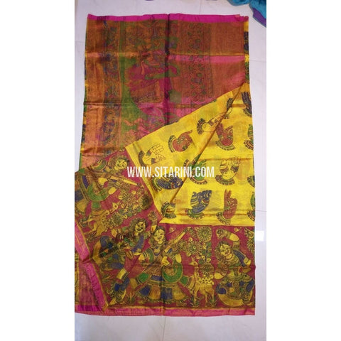 Printed Uppada Tissue Saree-Yellow and Magenta-Sitarini-UMKHUTPS125