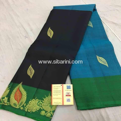 Pure Dharmavaram Silk Saree-Blue and Black-Sitarini