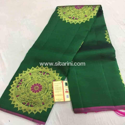 Pure Dharmavaram Silk Saree-Green-Sitarini