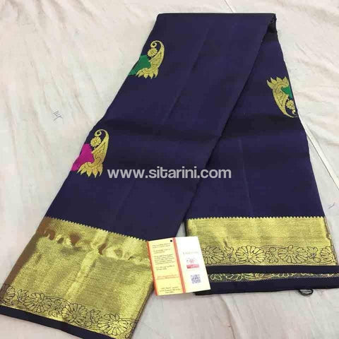 Pure Dharmavaram Silk Saree-Navy Blue-Sitarini