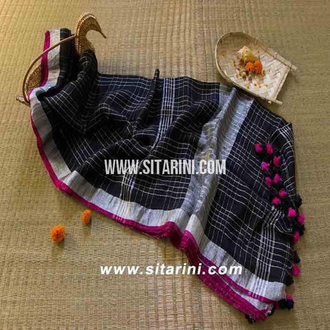 Pure Lenin Checks Saree-Black-Sitarini