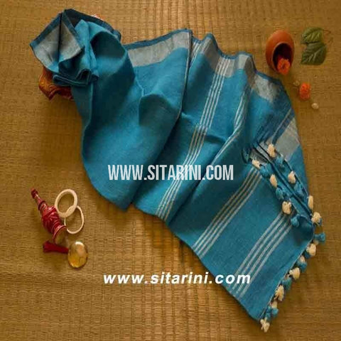 Pure Lenin Saree-Blue-Sitarini