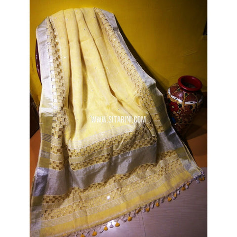 Pure Linen by Linen with Cut Work Sarees-Cream-Sitarini-MCHLS120