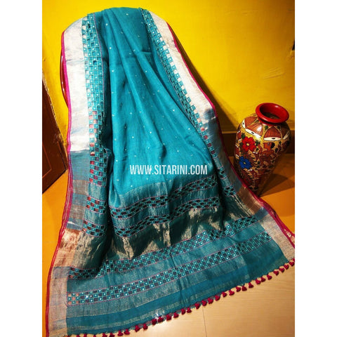 Pure Linen by Linen with Cut Work Sarees-Light Blue-Sitarini-MCHLS125