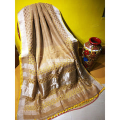 Pure Linen by Linen with Cut Work Sarees-Light Brown-Sitarini-MCHLS121