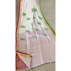 Pure Linen by Linen with Parrot Motifs Sarees-Cream-Sitarini-MCHLS119