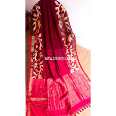 Pure Linen by Linen Zari Jamdari Sarees-Red and Magenta-Sitarini-MCHLS126