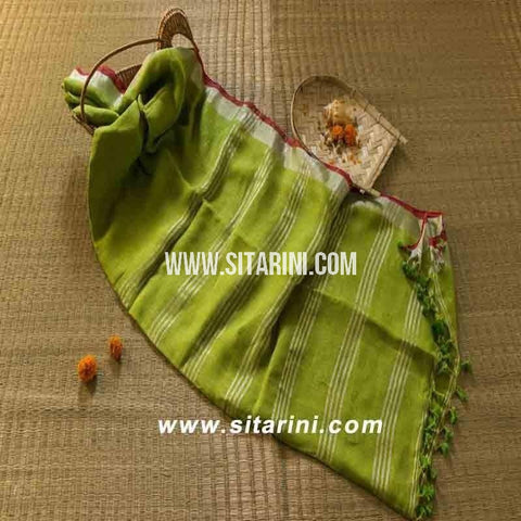 Pure Linen Saree-Light Green-Sitarini