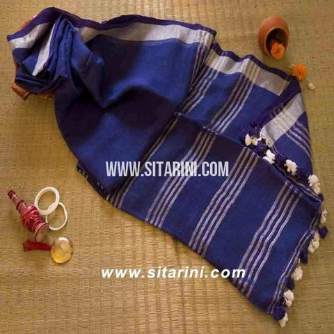 Pure Linen Saree-Navy Blue-Sitarini