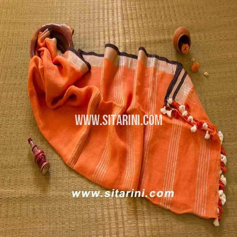 Pure Linen Saree-Orange-Sitarini