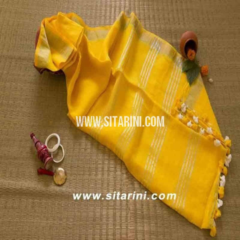 Pure Linen Saree-Yellow-Sitarini