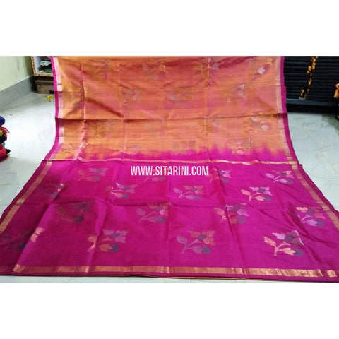 Pure Uppada Jamdani Pattu Saree-Light Orange and Pink-Sitarini-USRHUPS196