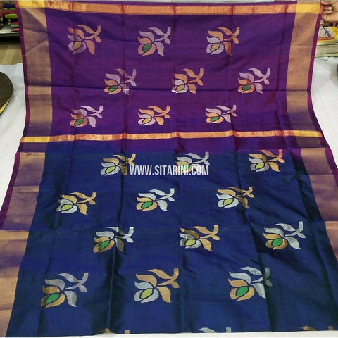 Pure Uppada Jamdani Pattu Saree-Light Purple and Blue-Sitarini-USRHUPS232
