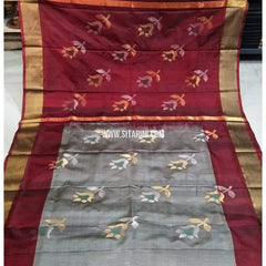 Pure Uppada Jamdani Pattu Saree-Maroon and Grey-Sitarini-USRHUPS226