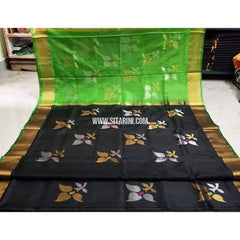 Pure Uppada Jamdani Pattu Saree-Parrot Green and Black-Sitarini-USRHUPS227