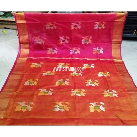 Pure Uppada Jamdani Pattu Saree-Pink and Orange-Sitarini-USRHUPS224