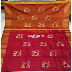 Pure Uppada Jamdani Pattu Saree-Pink and Yellow-Sitarini-USRHUPS234