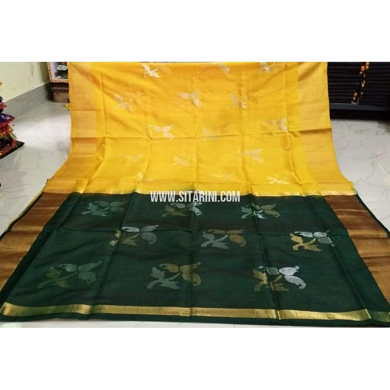 e6b35c4a10a027 Pure Uppada Jamdani Pattu Saree-Yellow and Bottle Green-Sitarini-USRHUPS193