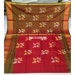 Pure Uppada Jamdani Saree-Bottle Green and Red-Sitarini-USRHUPS245