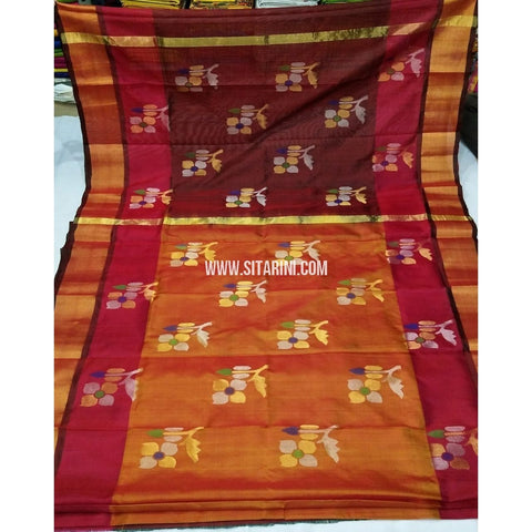 Pure Uppada Jamdani Saree-Maroon and Yellow-Sitarini-USRHUPS253