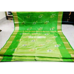 Pure Uppada Jamdani Saree-Parrot Green and Light Green-Sitarini-USRHUPS202