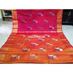Pure Uppada Jamdani Saree-Pink and Light Orange-Sitarini-USRHUPS210