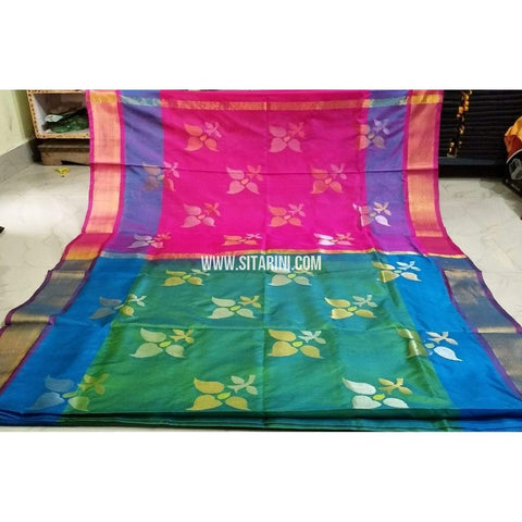 Pure Uppada Jamdani Saree-Pink and Sea Green-Sitarini-USRHUPS215