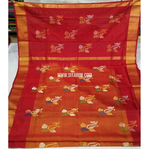 Pure Uppada Jamdani Saree-Red and Orange-Sitarini-USRHUPS241