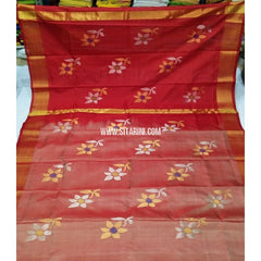 Pure Uppada Jamdani Saree-Red and Shaded Light Red-Sitarini-USRHUPS251