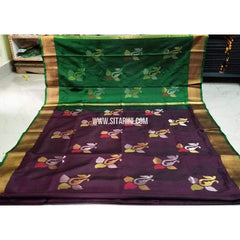 Pure Uppada Jamdani Silk Saree-Greeen and Dark Purple-Sitarini-USRHUPS188