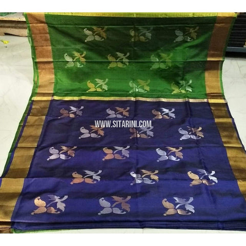 Pure Uppada Jamdani Silk Saree-Green and Blue-Sitarini-USRHUPS223