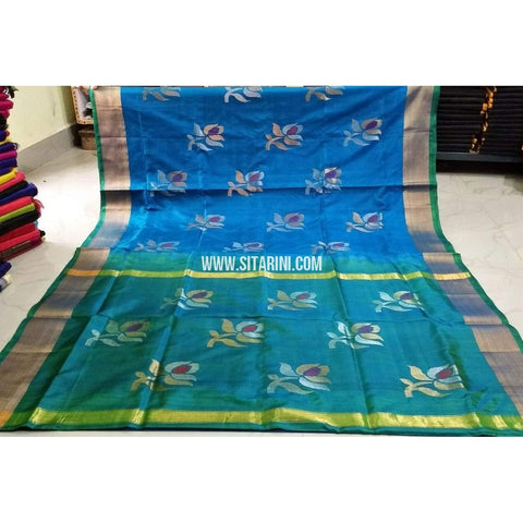 Pure Uppada Jamdani Silk Saree-Light Blue and Sea Greeen -Sitarini-USRHUPS189