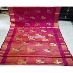 Pure Uppada Jamdani Silk Saree-Pink and Light Orange-Sitarini-USRHUPS191