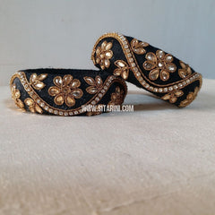 Raw Silk Bangles-Black-Broad-Sitarini
