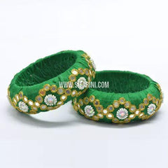 Raw Silk Bangles-Green-Broad-One Piece-Sitarini