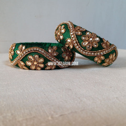 Raw Silk Bangles-Green-Broad-Sitarini