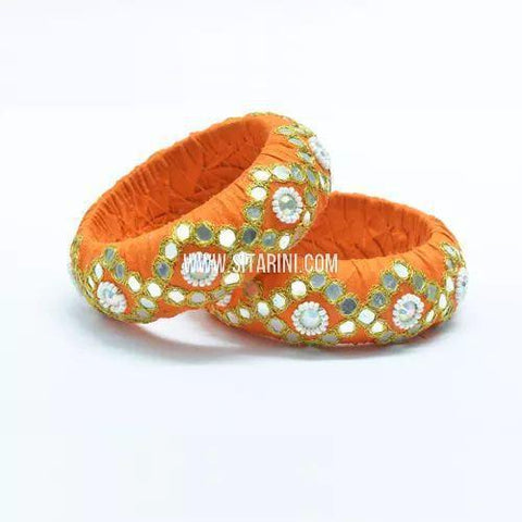 Raw Silk Bangles-Orange-Broad-One Piece-Sitarini