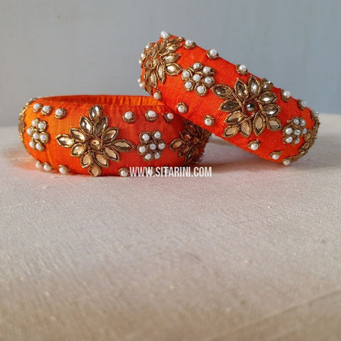 Raw Silk Bangles-Orange-Broad-Sitarini